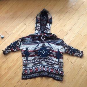 H&M Hooded Sweater - Aztec Print, Baja Style XS